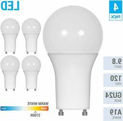 LED GU24 A19 Light Bulbs 60 Watt Equivalent, 9.5 Watt Dimmab