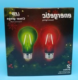 LED Light Bulbs 2 Pack Red Green Clear Glass A19 Indoor Stan