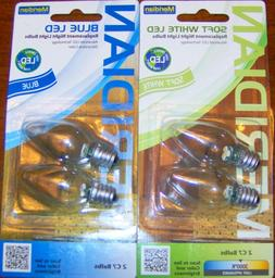 LED Night Light Replacement BULBS Soft White OR Blue C7 e12