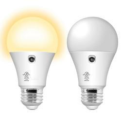 2 Pack A19 LED Sensor Bulb, Dusk to Dawn Automatic On/Off 80