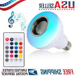 LED Wireless Bluetooth Light Bulb Speaker RGB Color 12W Musi