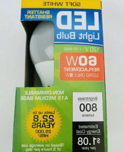 LED LIGHT BULBS 60 WATT SHATTER RESISTANT ENERGY SAVING SOFT