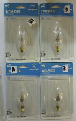 Lot of 4 Westinghouse Flicker Flame Shaped Light Bulb 3W Can