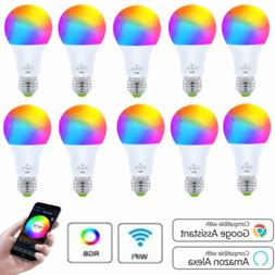 Lot WiFi Smart Light Bulb Bulbs Dimmable LED E27 W/ Google H