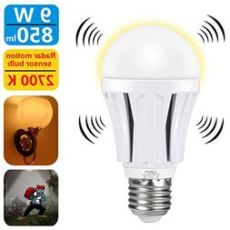 Motion Sensor Light Bulb 9W Dusk to Dawn Light Bulbs E26 Bas