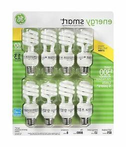 GE 13-Watt Energy Smart Fluorescent Light Bulbs, 8 Pack, 60