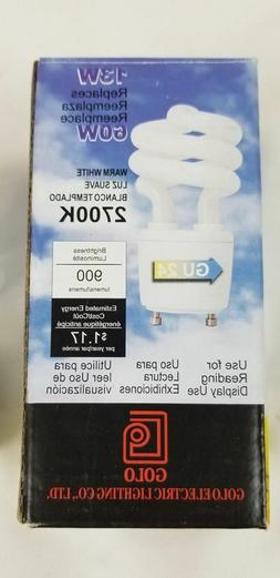 New 13W CFL Mini Spiral GU24 Base 2700K Soft White 60W Fluor