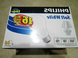 NEW 16 PACK PHILLIPS SOFT WHITE LIGHT BULBS Standard Size 10