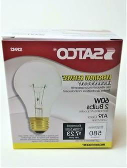 NEW 2PK Satco 60 Watt Clear Incandescent A19 Light Bulbs # S