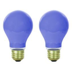 NEW  60W 120V INCANDESCENT A19, E26 BASE CERAMIC BLUE LIGHT