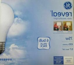 NEW PACK OF 6 GE REVEAL 75W 75 WATT INCANDESCENT LIGHT BULBS