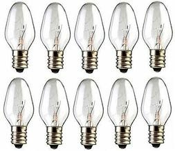 Box of 10 Nightlight Bulbs 15C7 Clear 15W 120V E12 Candelabr