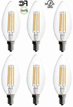 Bioluz LED Non-Dimmable 40 Watt Candelabra Bulbs, Filament L