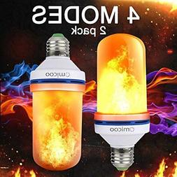 Omicoo 2 Pack LED Flame Effect Fire Light Bulbs E26 E27 4 Mo