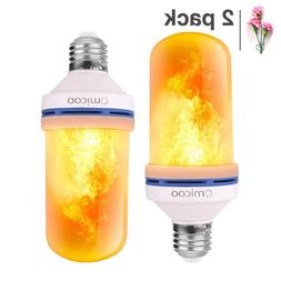 Omicoo LED Flame Effect Fire Light Bulbs 2 Pack 4 Modes with