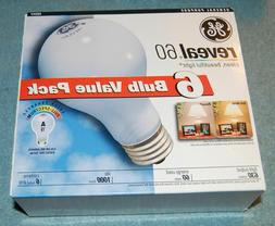 new one 6-pack of GE Reveal Incandescent 60-Watt A19 Bulbs 4