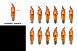 ORANGE C18 Flicker Flame String Light Bulbs 1 Watt/120 Volts