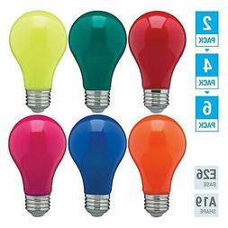 Pack LED BULB BLUE GREEN RED YELLOW ORANGE PINK A19 Medium E