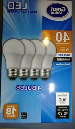 Great Value 4 pack Daylight 6 watts 40 watt equivalent 500 l