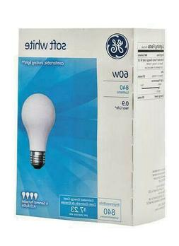 💡 PACK of FOUR  GE 60 Watt Soft White Incandescent Light