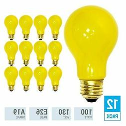 Pack YELLOW BUG LIGHT BULB 100W Watt A19 Medium E26 130V Inc