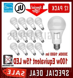QTY 12 LED Light Bulbs MAXLITE 15W 1600L Warm White 3000K A1