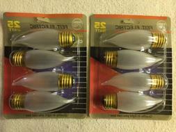 QTY 8 FEIT 25 Watt FLAME TIP FROST Chandelier Light Bulbs St