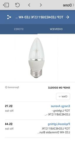 Quantity of 20 TCP 4 Watt Equivalent 2-pack, LED Clear Chand