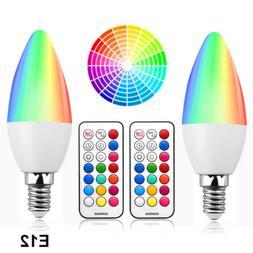 RGB E12 Light Bulb Candelabra LED Bulbs Dimmable 3W RGBW Col