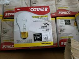 Satco S3942 - 60 watt A19 Incandescent Bulb, Clear, Medium B