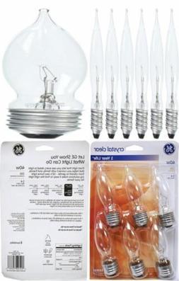 Set of 6 GE Crystal Clear 40 Watt Bent Tip Standard Base Lig