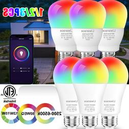 Smart LED Light Bulb 12W E26 A19 Multi-Color Dimmable For Al