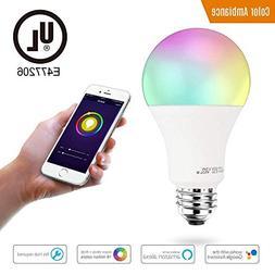 Smart LED Light Bulb A19 by 3Stone, WiFi App Controlled UL L