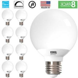 SUNCO 8 PACK G25 LED LIGHT BULB VANITY 6W 40W 450 LUMEN 5000