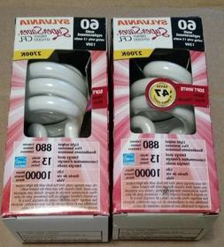 Sylvania Super Saver CFL 13 watt  light bubs- 2 bulbs