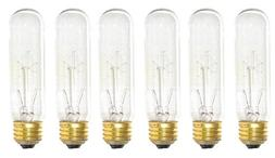 Pack Of 6 25 Watt T10 Clear Tubular Incandescent Medium  Bas
