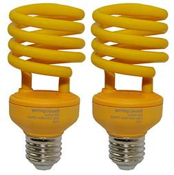 SleekLighting 23 Watt T2 YELLOW Bug Light Spiral CFL Light B
