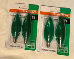 4 x SYLVANIA Transparent GREEN Light Bulbs // Indoor/Outdoor