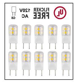 CBConcept UL-Listed, G8 LED Light Bulb , 10-Pack, 2 Watt, 22
