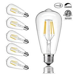 CMYK Vintage Edison LED Bulb, Dimmable 4W ST64 Antique LED B