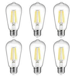 Ascher Vintage LED Edison Bulbs, 6W, Equivalent 60W, High Br