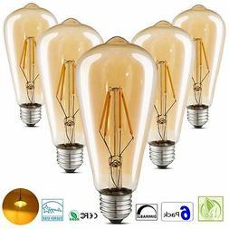 6 PACK LED Vintage Edison Light Bulbs 4W Amber Glass ST64 Di