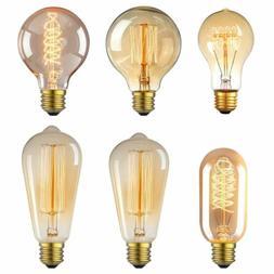 Vintage Retro E26 40W 60W Light Bulbs Edison Filament Incand