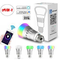 WiFi Smart Light Bulb Bulbs Dimmable LED E27 Lamp For Google