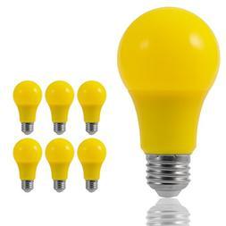 JandCase LED Yellow Bulbs, 40W Equivalent, A19 Bug Light Bul